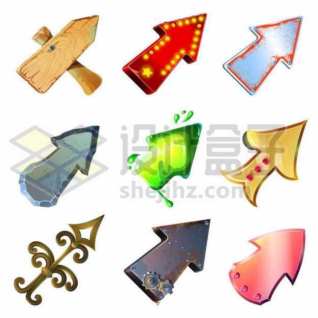 九款木制霓虹灯金属制石头制的卡通方向箭头7186662png图片免抠素材