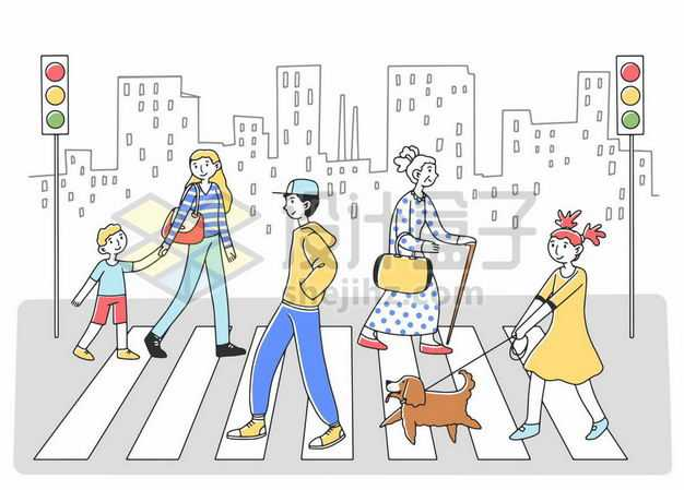 手绘风格过马路走人行横道宣传插画4002314png图片免抠素材