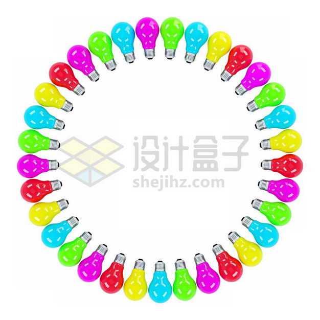 五颜六色的3D立体彩色电灯泡围成一个大圈1030559图片免抠素材