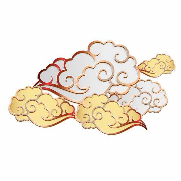 中国风3D立体金色和银色祥云图案6423734矢量图片免抠素材