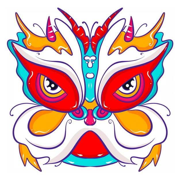 新年春节节日活动上的卡通舞狮子头部图案1372399png图片免抠素材
