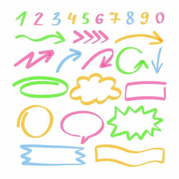 各种彩色涂鸦手绘风格方向箭头对话框思维导图虚线条数字运算符号8720101png图片免抠素材