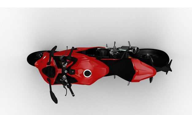支撑起来的红色运动摩托车俯视视角4944110PSD图片素材