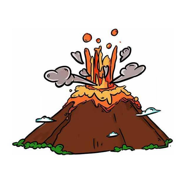 手绘风格卡通火山喷发火山灰5568005png图片免抠素材