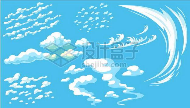 各种各样的卡通云朵白云漫画风格白云飘飘2514580png图片免抠素材 漂浮元素-第1张