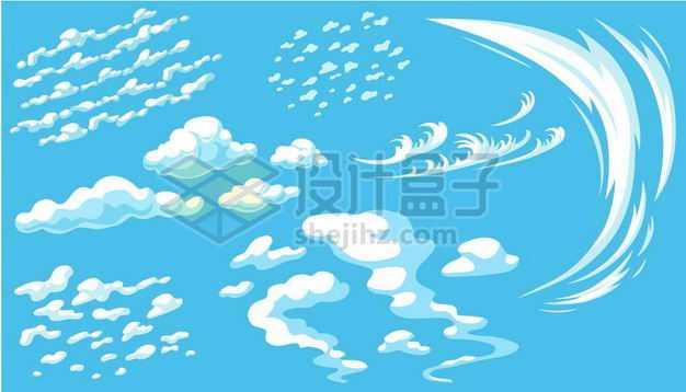 各种各样的卡通云朵白云漫画风格白云飘飘2514580png图片免抠素材