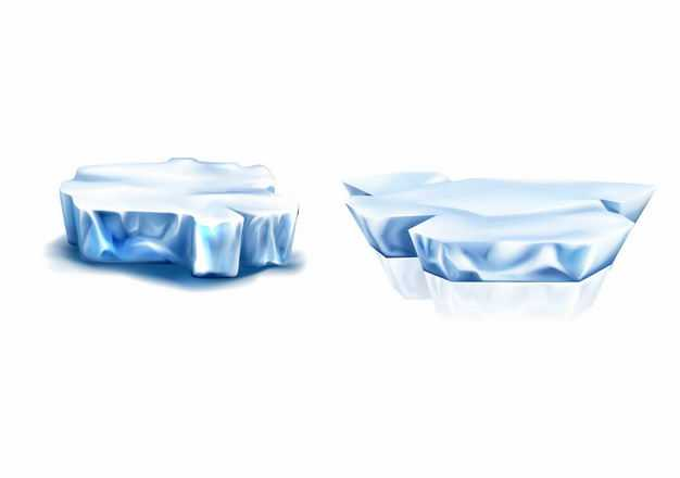 两款淡蓝色的冰山浮冰水上冰块1893137EPS图片免抠素材