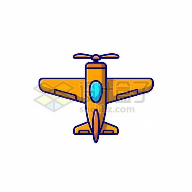 MBE风格黄色卡通螺旋桨飞机6775732png图片免抠素材