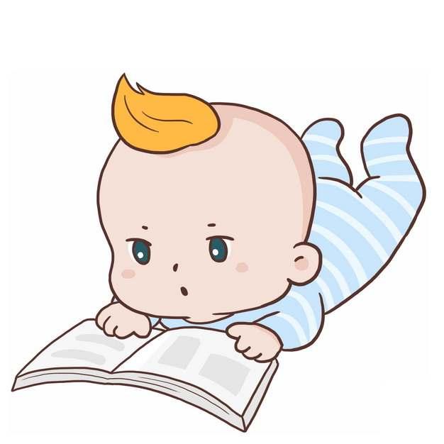 可爱的卡通宝宝趴着看书4596040png图片免抠素材