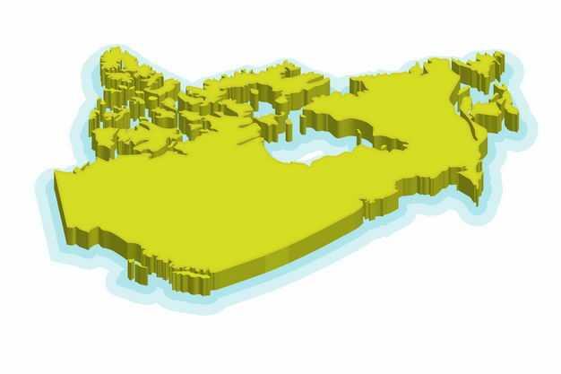 绿色3D立体加拿大地图8109133png图片免抠素材