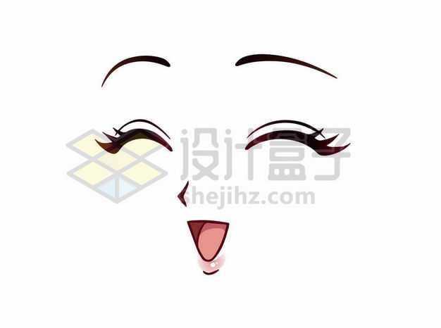大笑的可爱卡通美女动漫脸漫画风格二次元表情包6932582png图片免抠素材