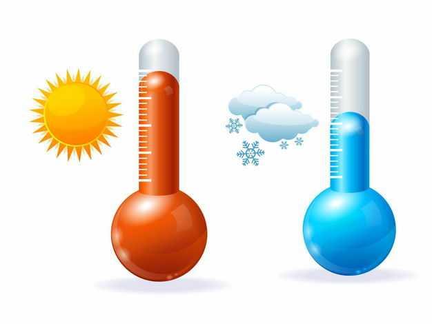 蓝色和红色温度计代表了天气预报中的下雪天和晴天5886199EPS图片免抠素材