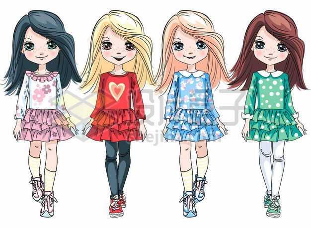 四款身穿裙子的时尚卡通女孩9371971png图片免抠素材