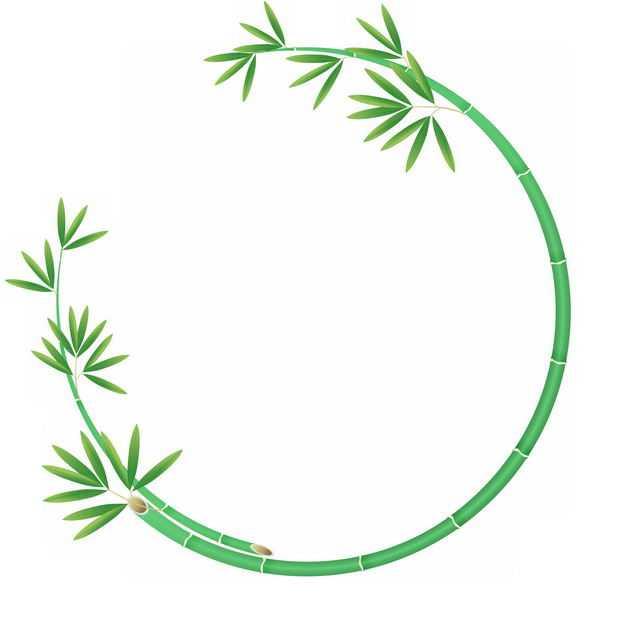 绿色竹竿竹叶竹子组成的圆形边框9439838png图片免抠素材