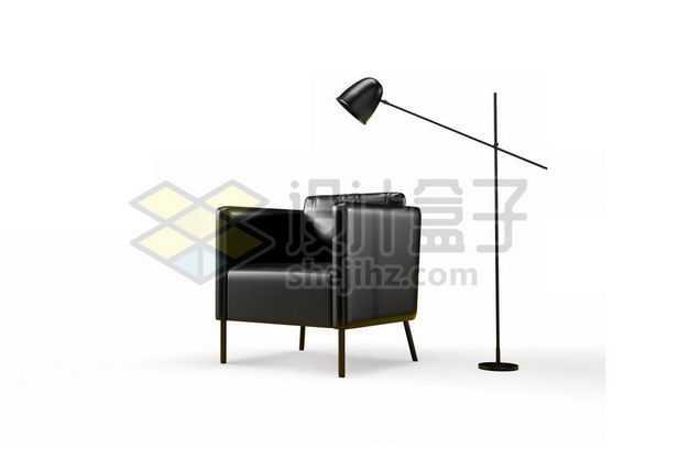 3D立体风格黑色皮质单人沙发和落地台灯7322578PSD图片免抠素材