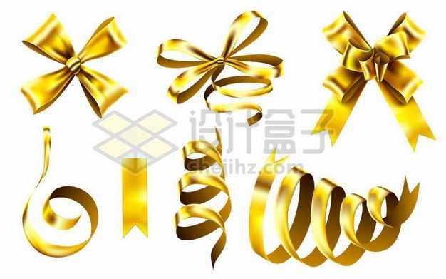 各种金色金属光泽风格蝴蝶结彩带飘带装饰7017302png图片免抠素材