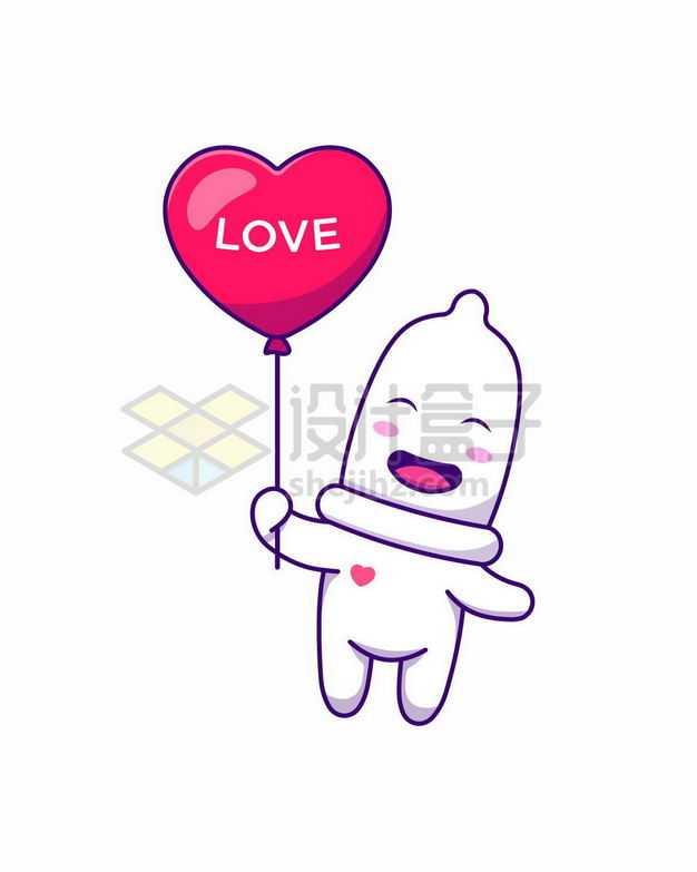 超可爱卡通安全套和心形气球情人节插画8593984png图片免抠素材