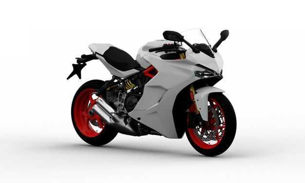 3D立体白色运动摩托车前右视角7661760png图片免抠素材