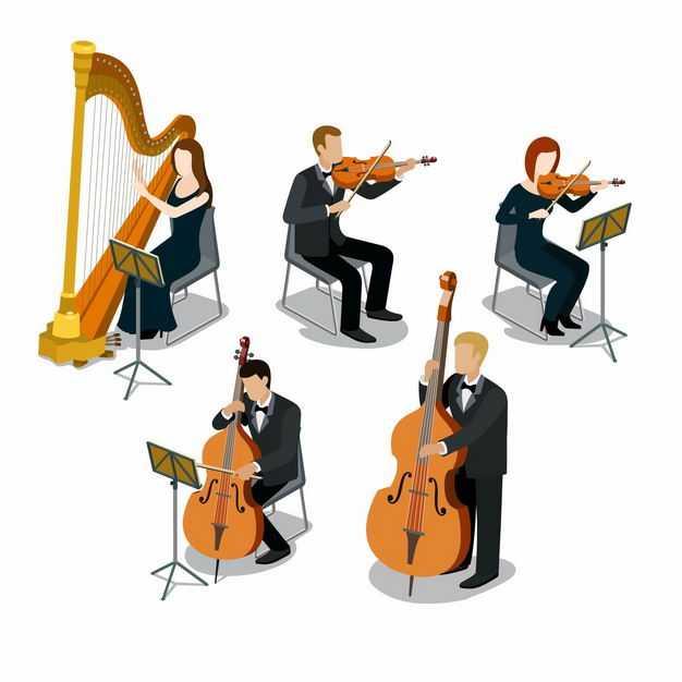 竖琴小提琴大提琴乐团乐队演奏1043646EPS图片免抠素材