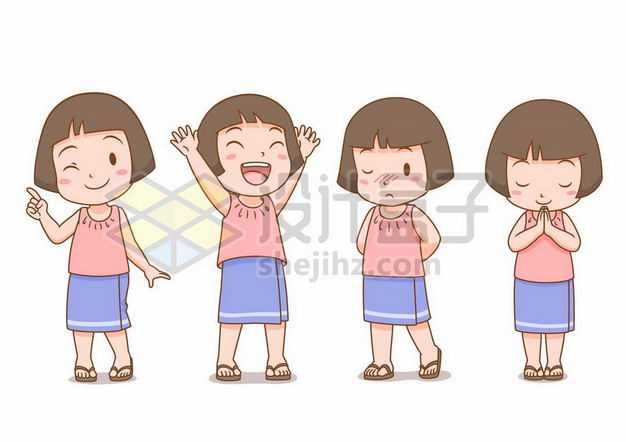 四款可爱表情的短发卡通小女孩3442403png图片免抠素材