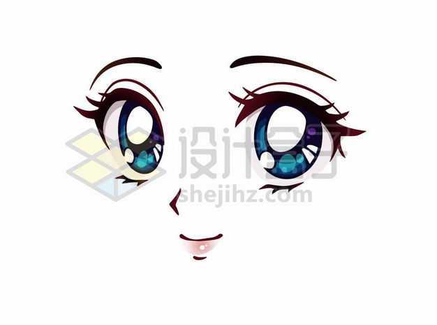 微笑的可爱大眼睛卡通美女动漫脸漫画风格二次元表情包6980617png图片免抠素材