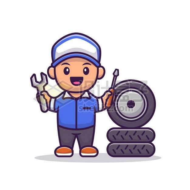 MBE风格卡通汽车修理工和车轮胎8311418png图片免抠素材