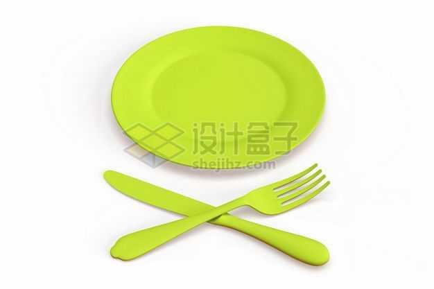 3D立体绿色盘子和餐刀叉子等西餐餐具模型9007360图片免抠素材