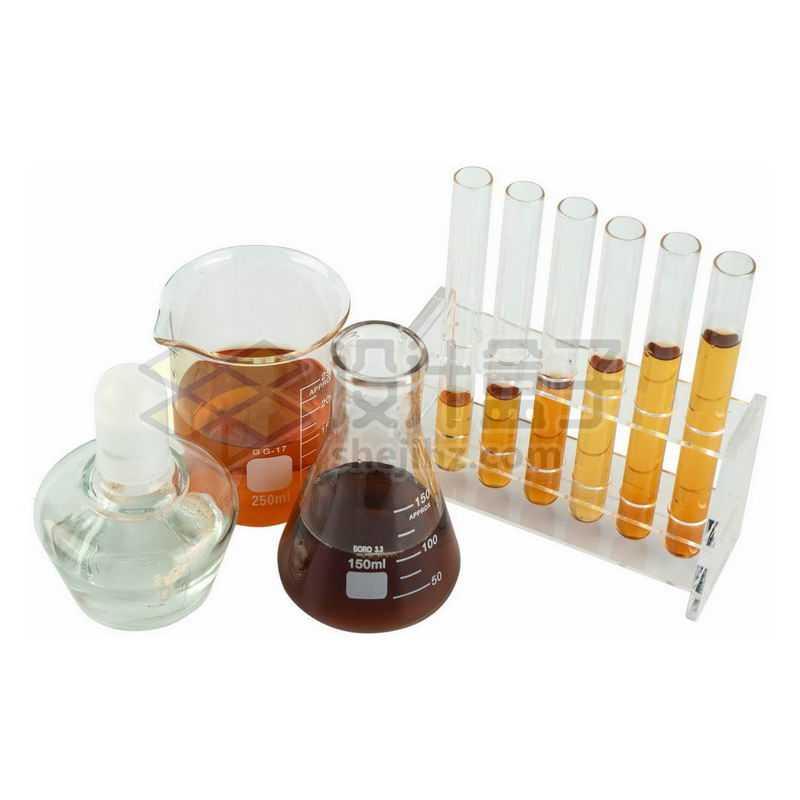 俯视视角的酒精灯烧杯锥形瓶试管等化学实验仪器4526216png图片免抠素材