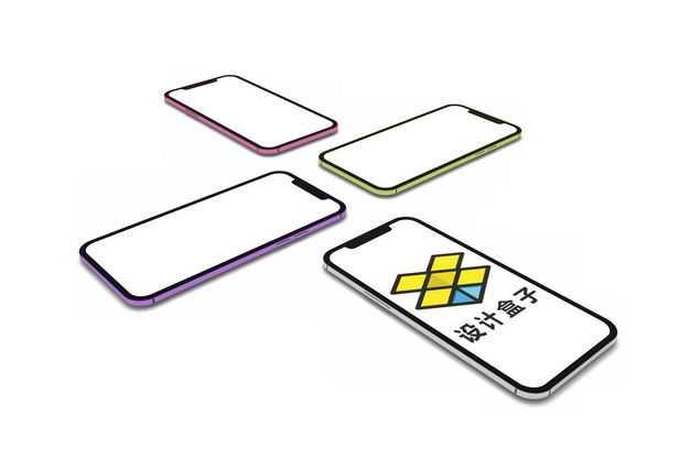 四个整齐摆好的手机显示样机5879234PSD图片素材