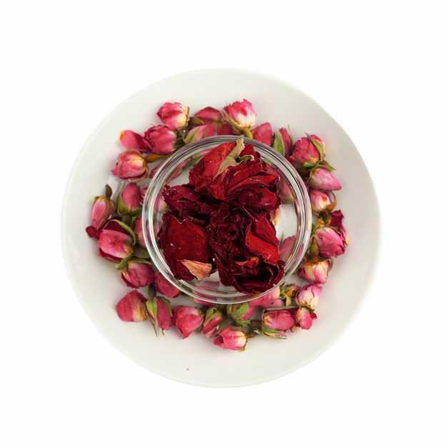 俯视视角白色盘子和玻璃碗中的玫瑰花茶牡丹花茶等养生花茶213772png图片免抠素材