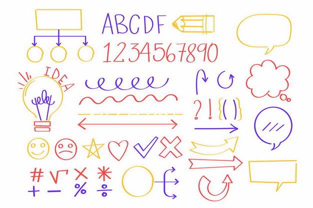 手绘风格思维导图字母数字箭头等涂鸦符号5956132png图片免抠素材 字体素材-第1张
