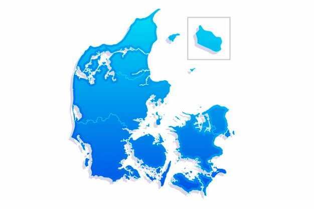 蓝色渐变色带阴影3D立体丹麦地图8222013png图片免抠素材