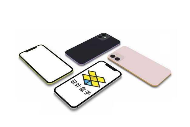 四个手机屏幕正面和背面显示样机1218906PSD图片素材