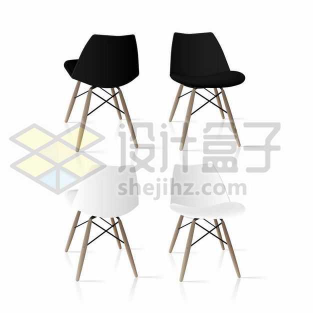 两款黑色白色的简约靠背椅子3572600png图片免抠素材