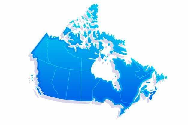 蓝色带阴影3D立体加拿大地图3433359png图片免抠素材