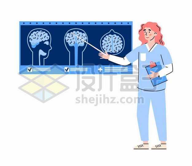 手绘风格脑科医生正在研究人脑的X光照片6520720png图片免抠素材