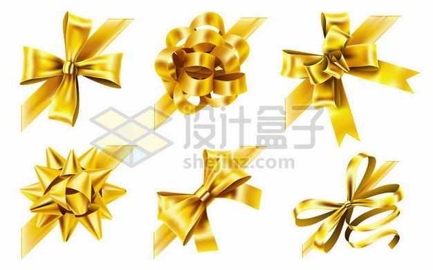 六款金色金属光泽风格蝴蝶结装饰4118549png图片免抠素材