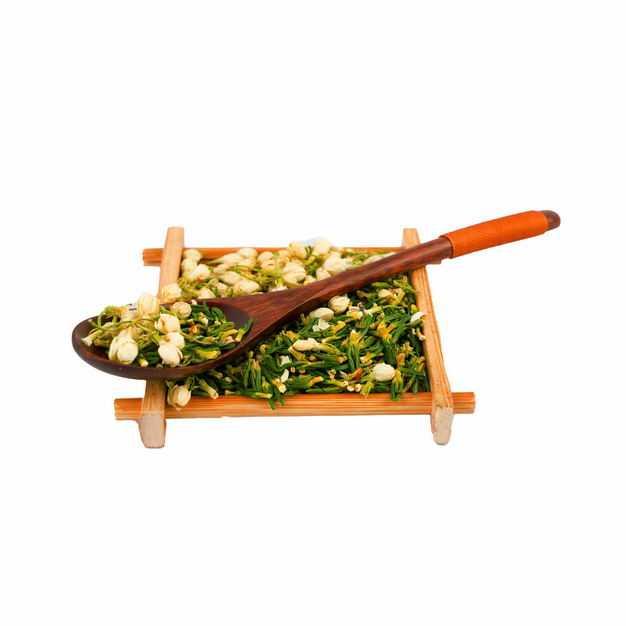 侧视角木头盘子和勺子中的茉莉花茶和葛花茶等养生花茶757873png图片免抠素材