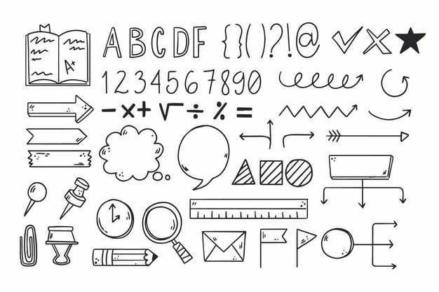 黑色线条手绘风格思维导图字母数字箭头等涂鸦符号1836094png图片免抠素材