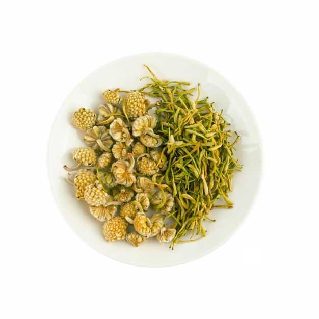 白色盘子中的洋甘菊胎菊苦丁茶等养生花茶774290png图片免抠素材