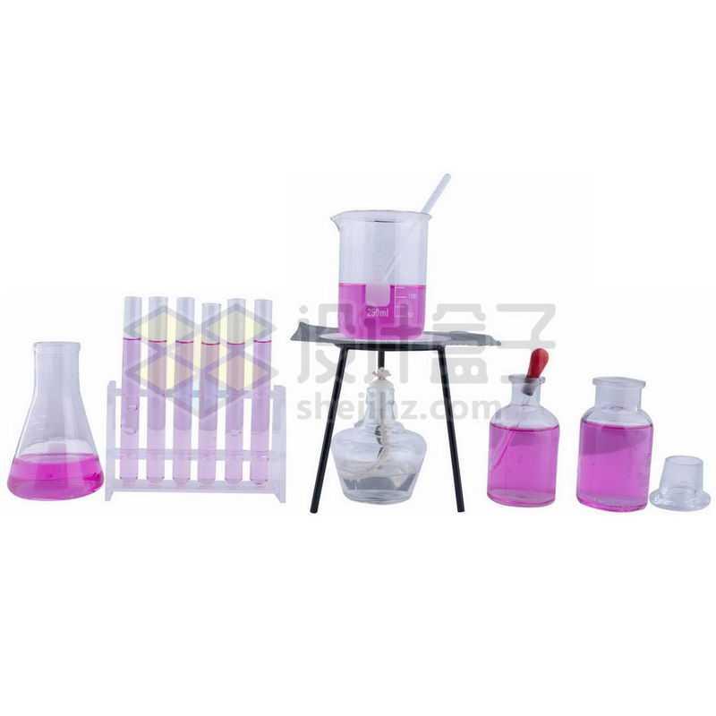红色液体的锥形瓶酒精灯石棉网和玻璃广口试剂瓶烧杯滴管试管等化学实验仪器6454368png图片免抠素材