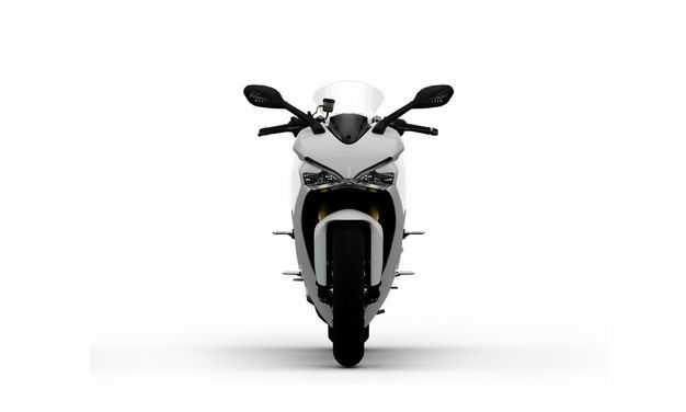 3D立体白色运动摩托车正面视角6260106png图片免抠素材