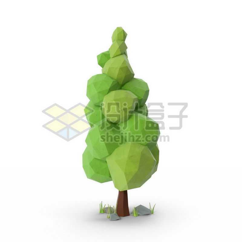低多边形风格绿色大树5446835图片免抠素材