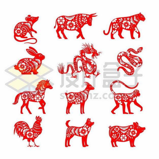 红色剪纸风格中国传统十二生肖图案1252088png图片免抠素材 节日素材-第1张