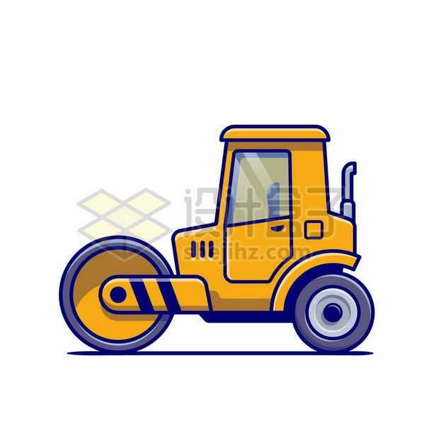 MBE风格黄色卡通压路机工程机械3693079png图片免抠素材