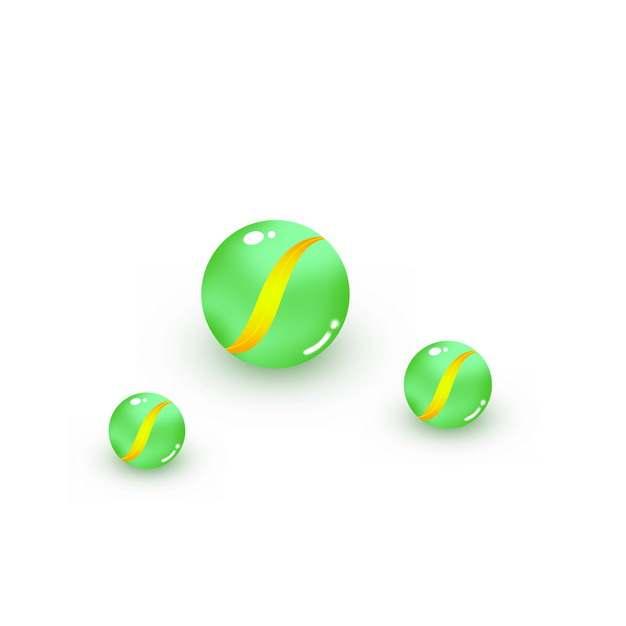 三颗绿色的弹珠球玻璃球182816PSD图片免抠素材