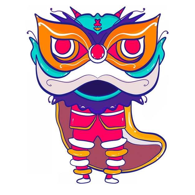 新年春节节日活动上的卡通舞狮子7373896png图片免抠素材