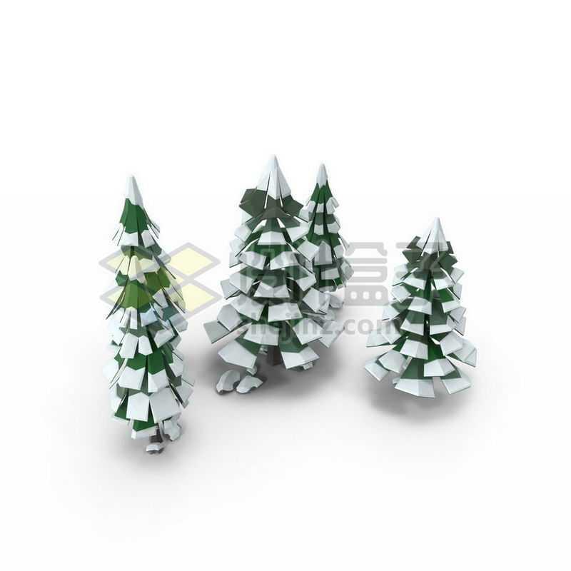 2.5D低多边形风格冬天积雪的雪松绿色大树8478168图片免抠素材