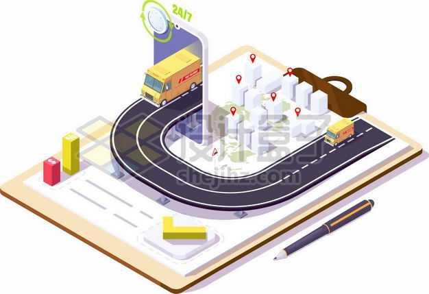 2.5D风格记事本上的立体城市和快递物流送货示意图5694367png图片免抠素材