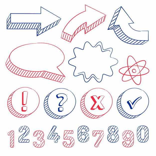 彩色手绘风格对号错号感叹号问号字母数字箭头等涂鸦符号5573715png图片免抠素材